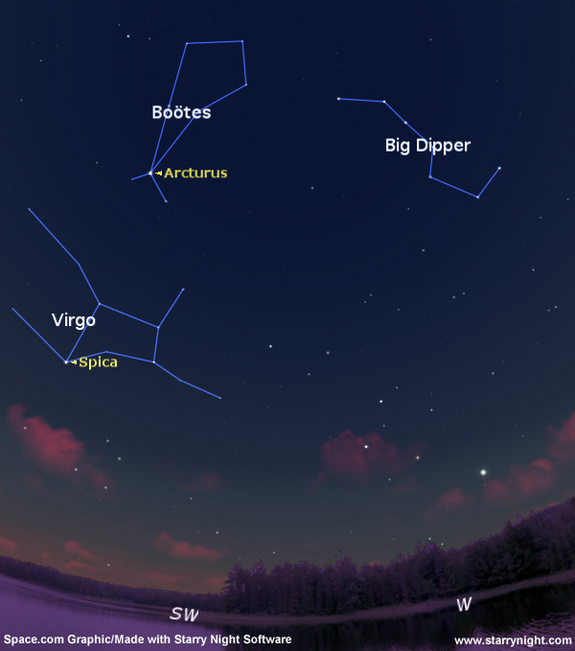 Arcturus and Spica baja sky cosmos